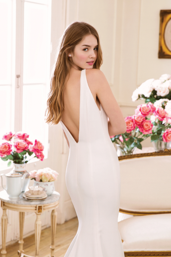 Chic lowback crepe wedding dress by Adore