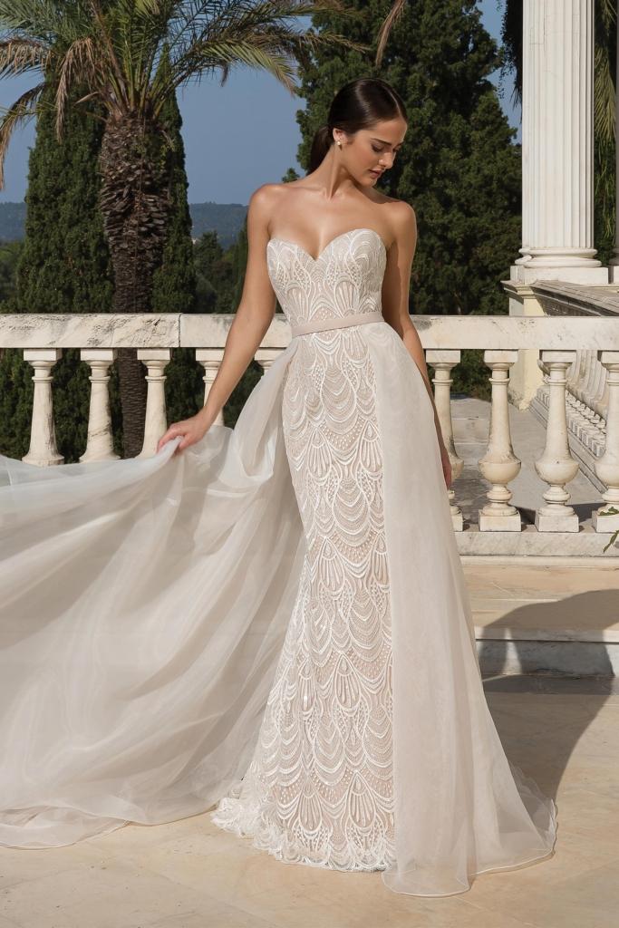 gorgeous sheath lace wedding dress with detachable overlay skirt