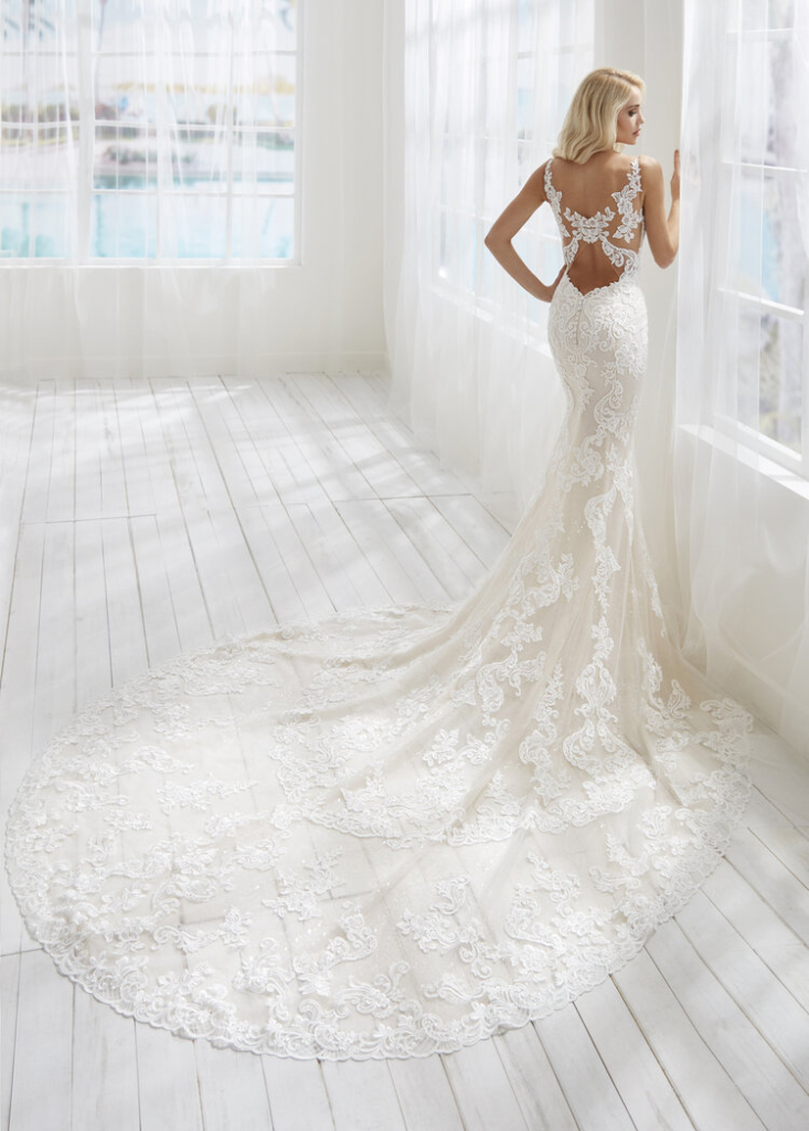 Randy Fenoli Barbie fitted lace wedding dress with long train and dramatic back