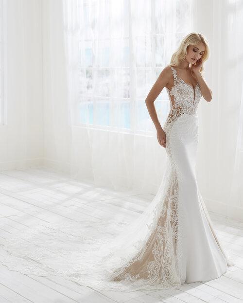 Randy Fenoli Barcelona wedding dress with sheer side panels