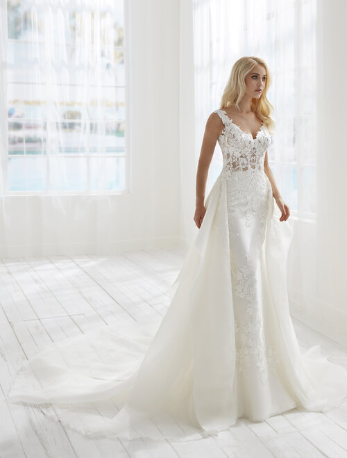 Randy Fenoli Belinda fitted lace wedding dress with sheer waist and detachable train