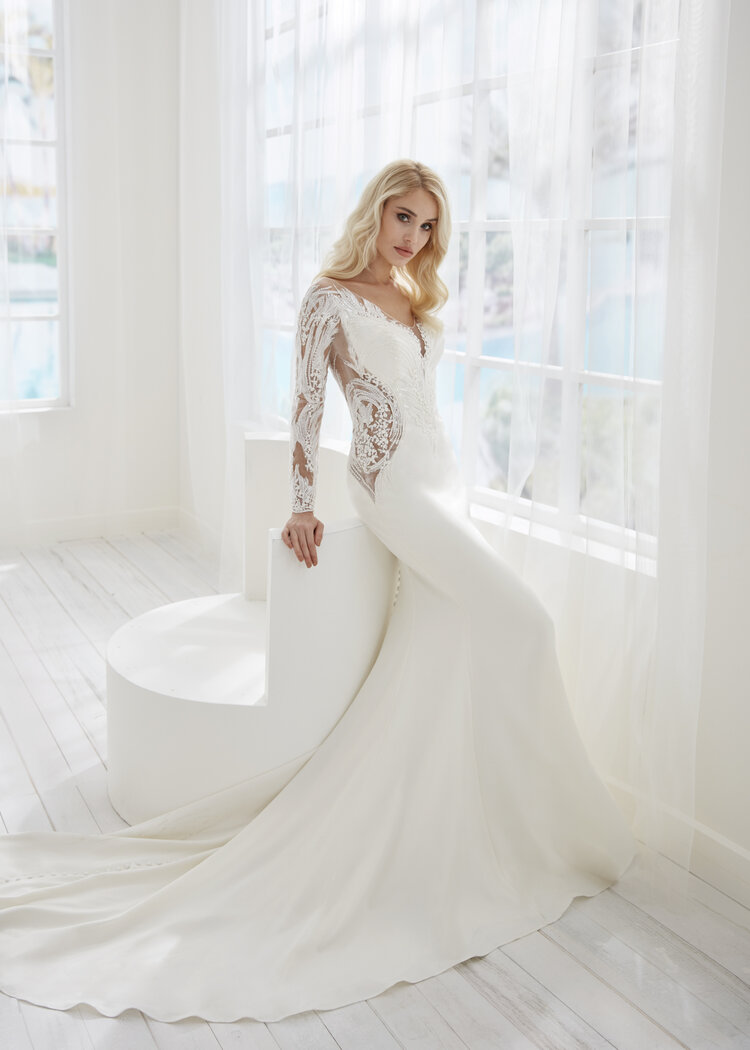 sexy long sleeve crepe wedding dress with sheer sides myrtle beach