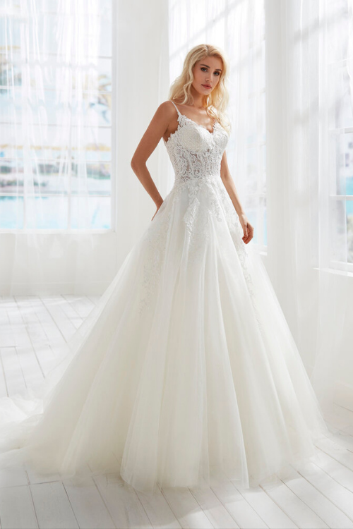 glamorous ballgown wedding dress with sheer lace bodice